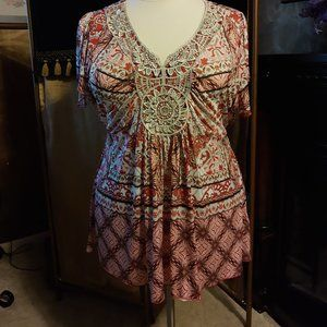 Style & Co. Pink Print Top Size 3X